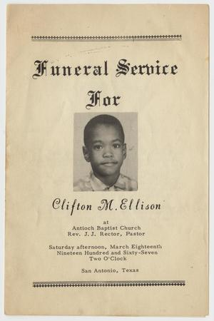 Primary view of object titled '[Funeral Program for Clifton M. Ellison, March 18, 1967]'.