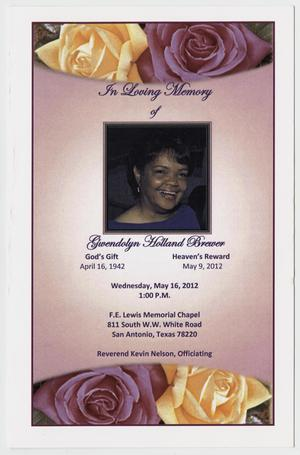 Primary view of object titled '[Funeral Program for Gwendolyn Holland Brewer, May 16, 2012]'.