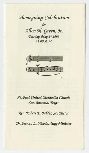 Primary view of object titled '[Funeral Program for Allen N. Green, Jr., May 14, 1996]'.