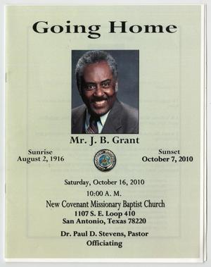 Primary view of object titled '[Funeral Program for J. B. Grant, October 16, 2010]'.