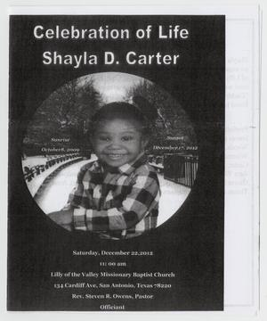 Primary view of object titled '[Funeral Program for Shayla D. Carter, December 22, 2012]'.