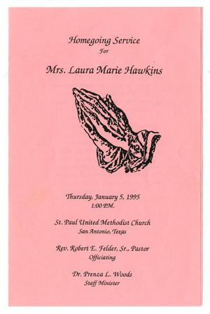 Primary view of object titled '[Funeral Program for Laura Marie Hawkins, January 5, 1995]'.