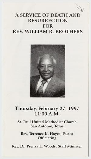 Primary view of object titled '[Funeral Program for William R. Brothers, February 27, 1997]'.