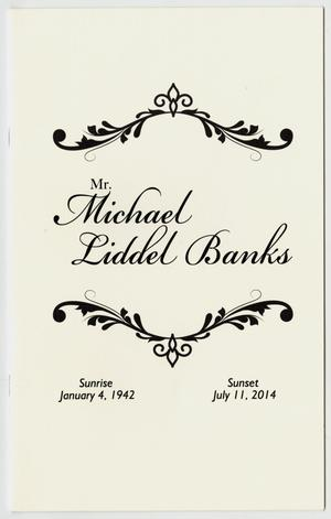 Primary view of object titled '[Funeral Program for Michael Liddel Banks, July 17, 2014]'.