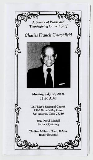 Primary view of object titled '[Funeral Program for Charles Francis Crutchfield, July 26, 2004]'.