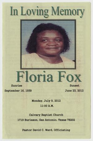 Primary view of object titled '[Funeral Program for Floria Fox, July 9, 2012]'.