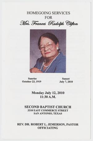 Primary view of object titled '[Funeral Program for Frances Rudolph Clifton, July 12, 2010]'.