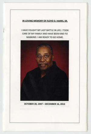 Primary view of object titled '[Funeral Program for Floyd D. Harris, Sr., December 26, 2012]'.
