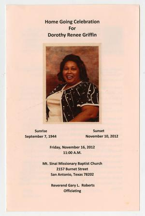Primary view of object titled '[Funeral Program for Dorothy Renee Griffin, November 16, 2012]'.