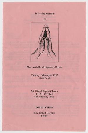 Primary view of object titled '[Funeral Program for Arabelle Montgomery Brown, February 4, 1997]'.