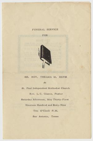 Primary view of object titled '[Funeral Program for Thelma M. Davis, May 31, 1969]'.