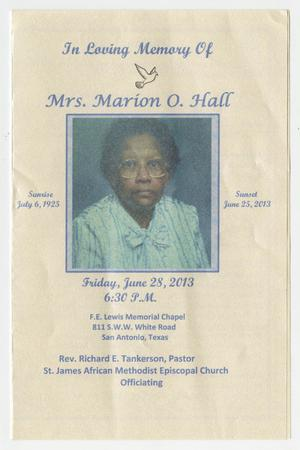 Primary view of object titled '[Funeral Program for Marion O. Hall, June 28, 2013]'.