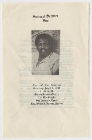 Primary view of object titled '[Funeral Program for Cleveland Andrews, July 25, 1987]'.