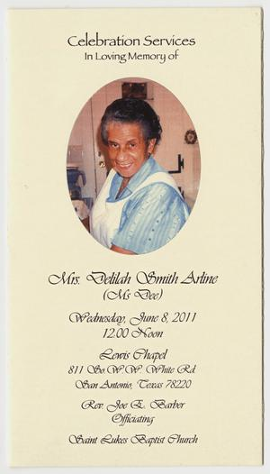 Primary view of object titled '[Funeral Program for Delilah Smith Arline'.