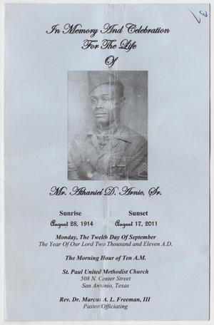 Primary view of object titled '[Funeral Program for Anthaniel D. Arnic, Sr., September 12, 2011]'.