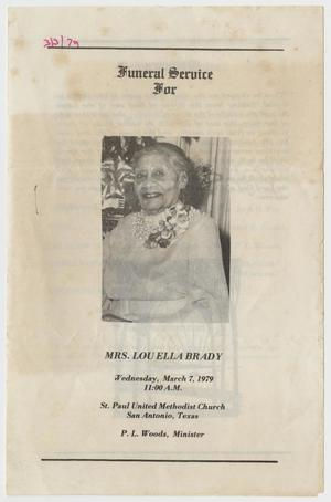 Primary view of object titled '[Funeral Program for Lou Ella Brady, March 7, 1979]'.