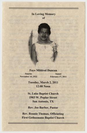Primary view of object titled '[Funeral Program for Faye Mildred Duncan, March 2, 2011]'.