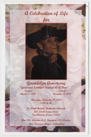 Primary view of object titled '[Funeral Program for Gwendolyn Armstrong, December 19, 2013'.