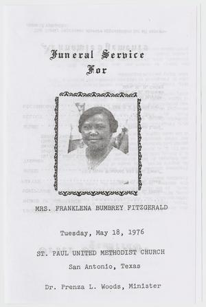 Primary view of object titled '[Funeral Program for Franklena Bumbrey Fitzgerald, May 18, 1976]'.