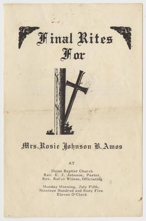 Primary view of object titled '[Funeral Program for Rosie Johnson B. Amos, July 05, 1965'.