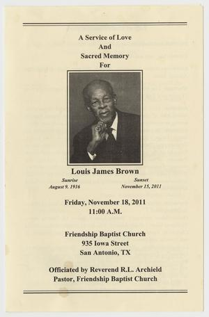 Primary view of object titled '[Funeral Program for Louis James Brown, November 18, 2011]'.