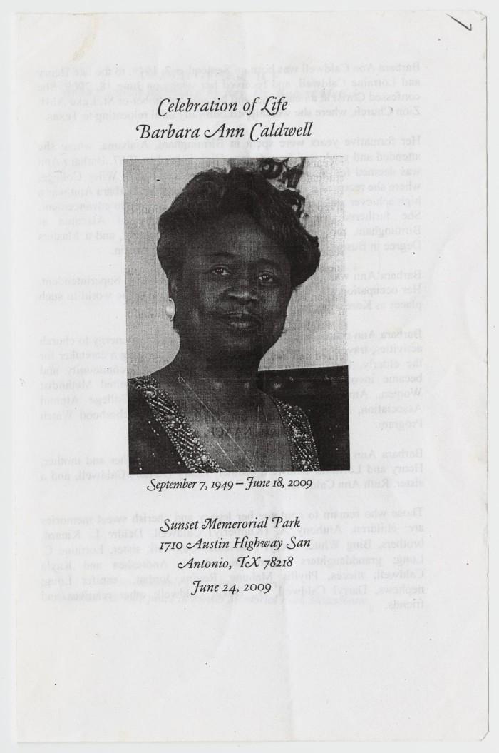 funeral program for barbara ann caldwell june 24 2009 the