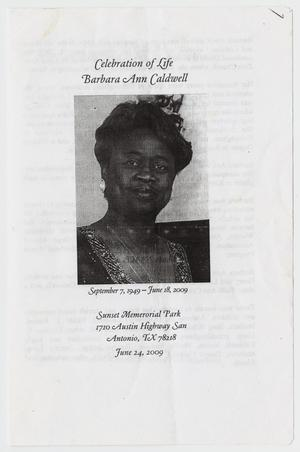Primary view of object titled '[Funeral Program for Barbara Ann Caldwell, June 24, 2009]'.