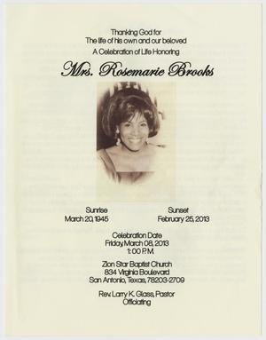 Primary view of object titled '[Funeral Program for Rosemarie Brooks, March 8, 2013]'.