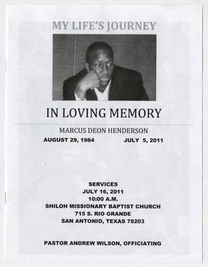 [Funeral Program for Marcus Deon Henderson, July 16, 2011]