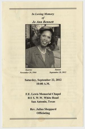 [Funeral Program for Jo Ann Bennett, September 22, 2012]