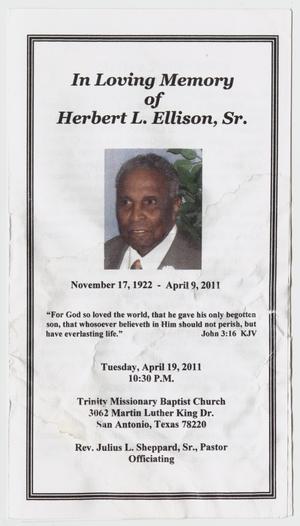 [Funeral Program for Herbert L. Ellison, Sr., April 19, 2011]