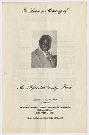 Primary view of object titled '[Funeral Program for Sylvester George Ford, July 15, 1981]'.