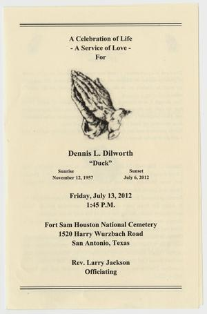 Primary view of object titled '[Funeral Program for Dennis L. Dilworth, July 13, 2012]'.