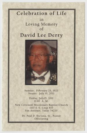 Primary view of object titled '[Funeral Program for David Lee Derry, July 15, 2011]'.