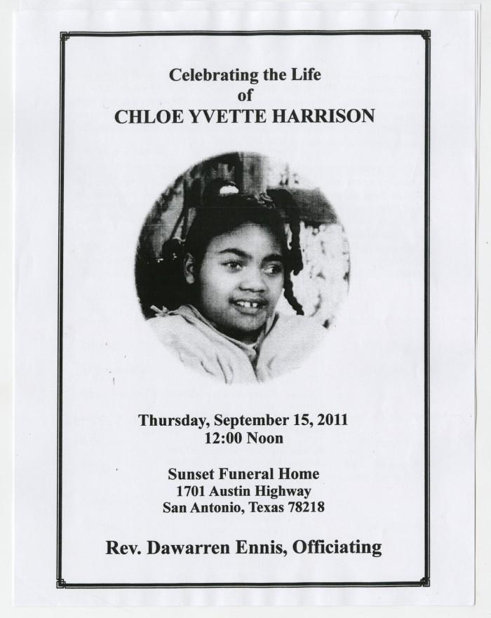 funeral program for chloe yvette harrison september 15 2011 the