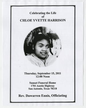 [Funeral Program for Chloe Yvette Harrison, September 15, 2011]