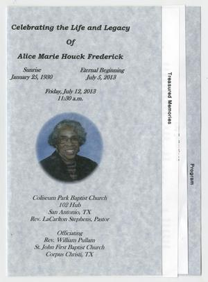 [Funeral Program for Alice Marie Houck Frederick, July 12, 2013]