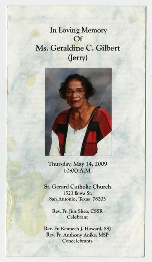 [Funeral Program for Geraldine C. Gilbert, May 14, 2009]