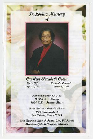 [Funeral Program for Carolyn Elizabeth Green, October 13, 2014]