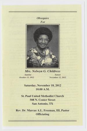 [Funeral Program for Nelwyn G. Childress, November 18, 2012]