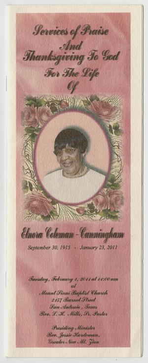 Primary view of object titled '[Funeral Program for Elnora Coleman-Cunningham, February 1, 2011]'.