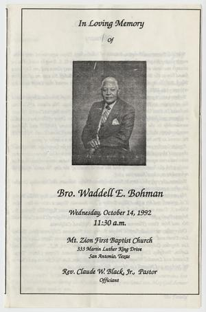 Primary view of object titled '[Funeral Program for Waddell E. Bohman, October 14, 1992]'.