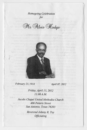 Primary view of object titled '[Funeral Program for Alvis Hodge, April 13, 2012]'.