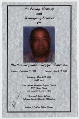 Primary view of object titled '[Funeral Program for Reginald Bateman, March 24, 2012]'.