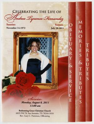 Primary view of object titled '[Funeral Program for Andrea Tyrance-Fernandez, August 8, 2011]'.