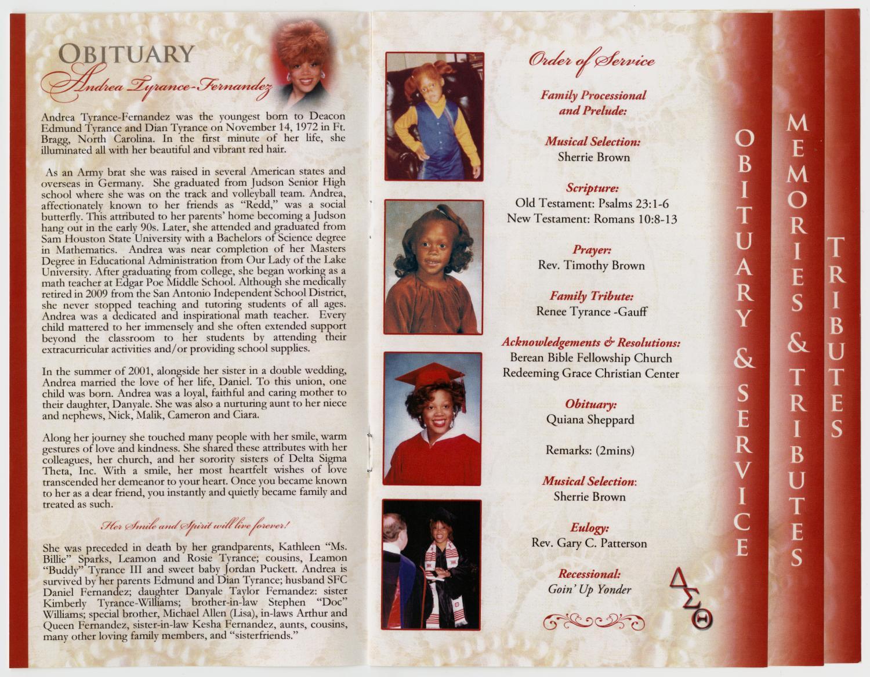 Funeral Program for Andrea Tyrance-Fernandez, August 8, 2011