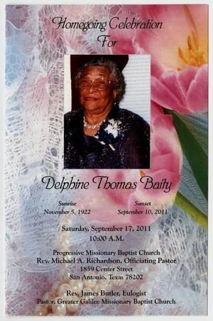 Primary view of object titled '[Funeral Program for Delphine Thomas Baity, September 17, 2011]'.