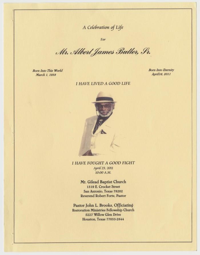 Funeral Program for Albert James Butler, Sr., April 23, 2011] - The ...