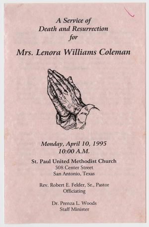 Primary view of object titled '[Funeral Program for Lenora Williams Coleman, April 10, 2015]'.