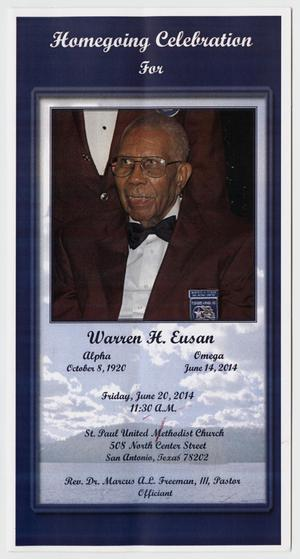 Primary view of object titled '[Funeral Program for Warren H. Eusan, June 20, 2014]'.